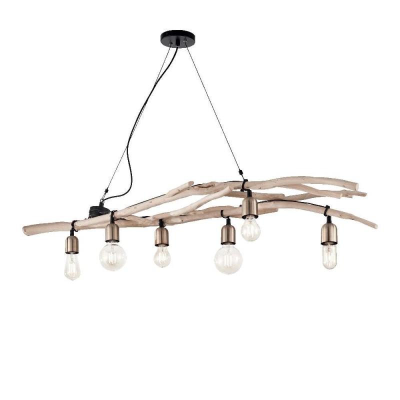 Ideal Lux Driftwood SP6 lampadario per sala da pranzo in legno