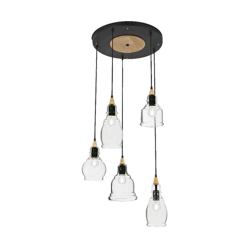 Ideal Lux Gretel SP5 lampadario classico per sala da pranzo in vetro E27 60W