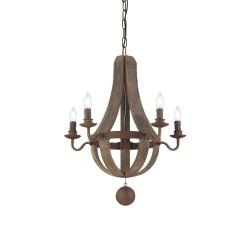 Ideal Lux Millennium SP5 lampadario classico per salone in legno naturale E14 40 W