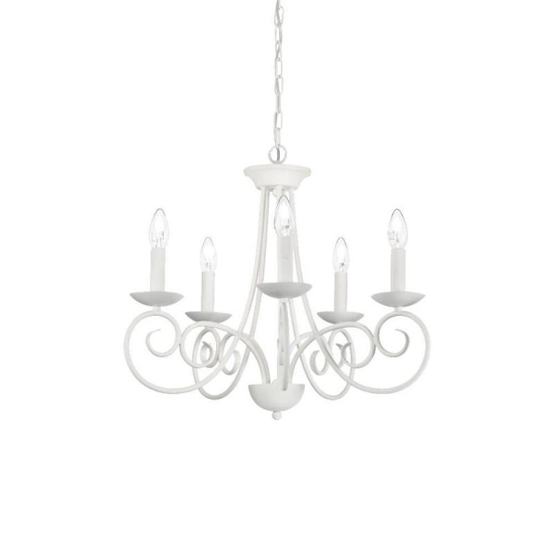Ideal Lux Sem SP5 lampadario classico per soggiorno bianco satinato E14 40W