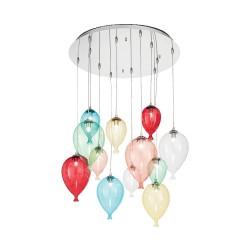 Ideal Lux Clown SP12 lampadario moderno soggiorno in vetro soffiato multicolore G9
