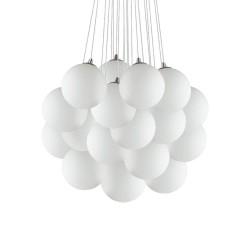Ideal Lux Mapa Plus SP22 lampadario moderno a sfera in vetro bianco soffiato e acidato E14 40W