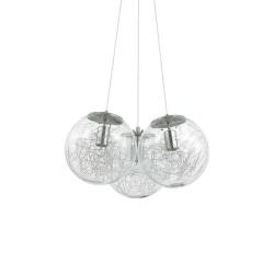 Ideal Lux Mapa Sat SP3 lampadario moderno in vetro soffiato trasparente con decoro E27 60W