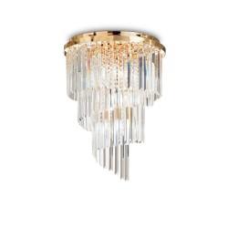 Ideal Lux Carlton PL12 lampada da soffitto classica per soggiorno in cristallo E14 40W