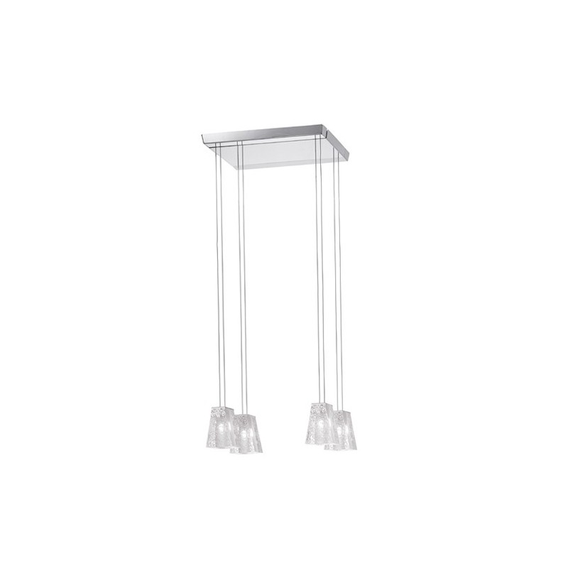Fabbian Vicky D69A07 lampadario 4 luci base quadrata