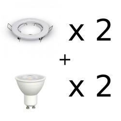 Faretti da incasso per cartongesso completi di lampadine led 7W 500 lm 2 pezzi