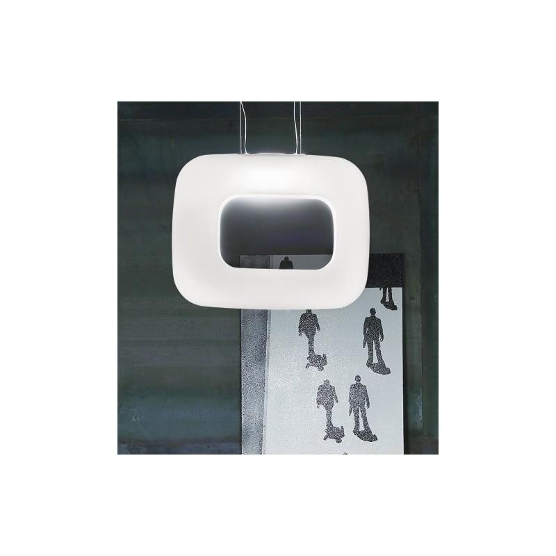 Vistosi Dos SP R lampada moderna a sospensione in vetro bianco satinato