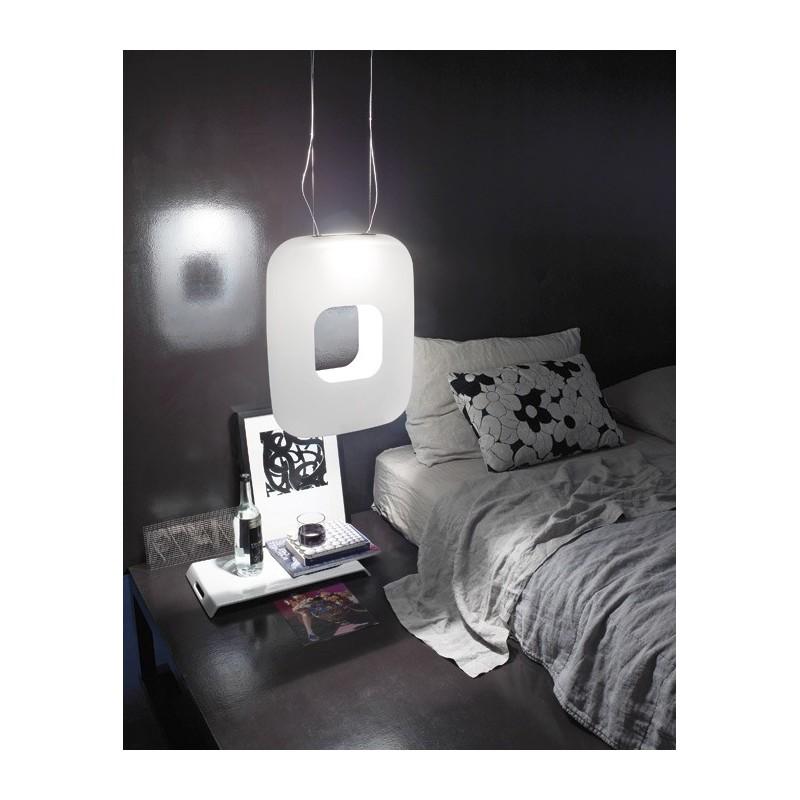 Vistosi Dos SP Q lampada moderna a sospensione vetro bianco satinato