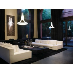 Vistosi Ferea SP lampada moderna a sospensione vetro bianco satinato
