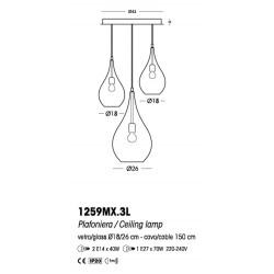 Cangini E Tucci Lacrima rigato R1259MX.4L lampadario moderno