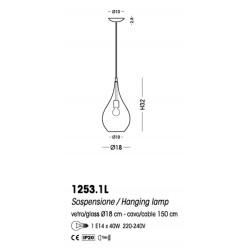 Cangini E Tucci Lacrima rigato R1253.1L lampadario moderno