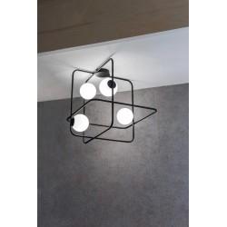 Marchetti Intrigo Q plafoniera design quadrata nero oro bianco
