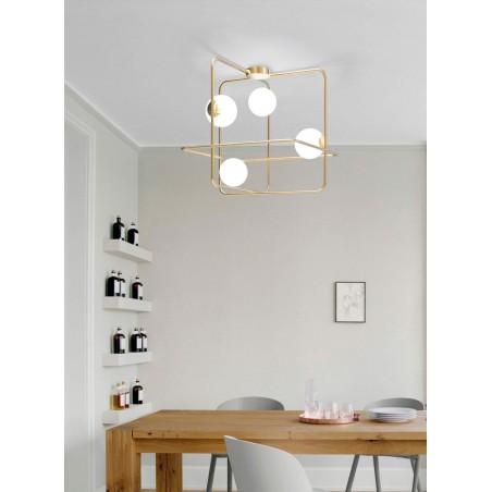 Marchetti Intrigo Q lampada a soffitto quadrata nero oro bianco