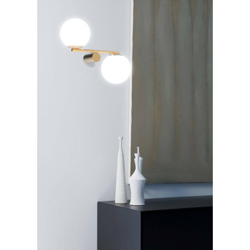 Marchetti Luna R2 lampada da parete in metallo nero oro bianco