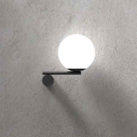 Marchetti Luna R1 Dx lampada da parete in metallo nero oro bianco