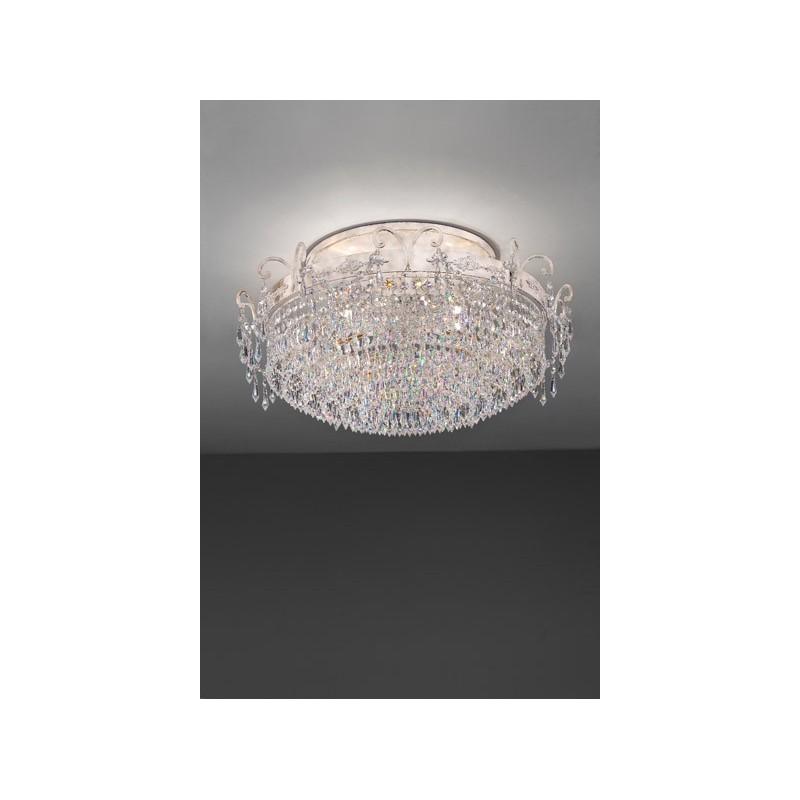 Masiero Glassè PL8 Plafoniera classica con pendenti in cristallo.