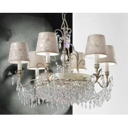 Masiero Glassè 6+3 lampadario classico con paralumi damascati