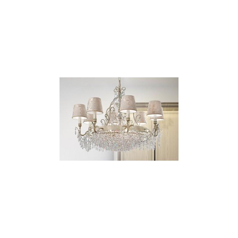 Masiero Glassè 8+4 Lampadario classico con paralumi damascati