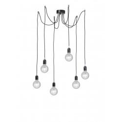 Rossini Erkel ERK003 lampada a sospensione moderna con cavo in tessuto colorato sei luci