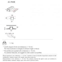 P003B di 9010 profilo da incasso in alumite 100 cm