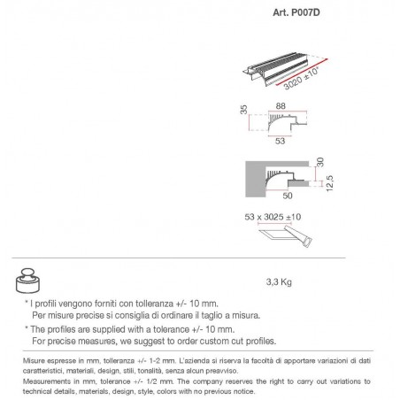 P007D di 9010 profilo alluminio 300 cm
