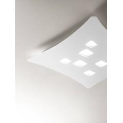 Isotta pp GeaLuce plafoniera LED moderna biemissione 44x40 bianca o tortora