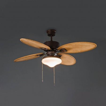 Faro Barcelona Lombok ventilatore con luce colore marrone scuro
